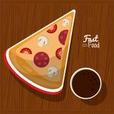 Γρήγορο φαγητό αφισών στο επιτραπέζιο υπόβαθρο κουζινών με τη μερίδα και τη σάλτσα πιτσών διανυσματική απεικόνιση