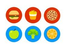 Γρήγορο φαγητό και υγιή εικονίδια τροφίμων Στοκ Φωτογραφία