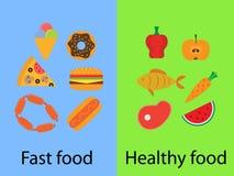 Γρήγορο φαγητό και υγιή τρόφιμα Στοκ Εικόνες