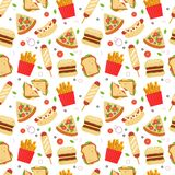 Γρήγορο φαγητό που τίθεται για το σχέδιο επιλογών μικρών εστιατορίων Ανθυγειινά τρόφιμα οδών που απομονώνονται στο άσπρο υπόβαθρο ελεύθερη απεικόνιση δικαιώματος