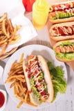 Γρήγορο φαγητό, χοτ-ντογκ Στοκ Εικόνες