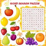 Γρίφος αναζήτησης λέξης Διανυσματικό παιχνίδι εκπαίδευσης για τα παιδιά καρποί απεικόνιση αποθεμάτων