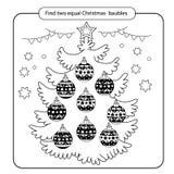 Γρίφος για τα παιδιά Παιχνίδι μυαλού παιδιών Ανάμεικτα πράγματα για να βρεί την αντιστοιχία σύνολο Χριστουγέννων σφαιρών Στοκ Φωτογραφία