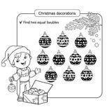 Γρίφος για τα παιδιά Παιχνίδι μυαλού παιδιών Ανάμεικτα πράγματα για να βρεί την αντιστοιχία σύνολο Χριστουγέννων σφαιρών Στοκ Εικόνες