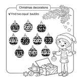 Γρίφος για τα παιδιά Παιχνίδι μυαλού παιδιών Ανάμεικτα πράγματα για να βρεί την αντιστοιχία σύνολο Χριστουγέννων σφαιρών Χρωματίζ Στοκ Εικόνες