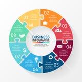 Γρίφος κύκλων infographic, διάγραμμα, 8 επιλογές Στοκ Εικόνες