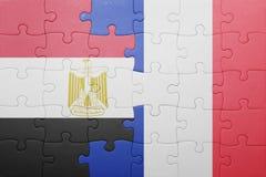 Γρίφος με τη εθνική σημαία της Αιγύπτου και της Γαλλίας Στοκ Εικόνα