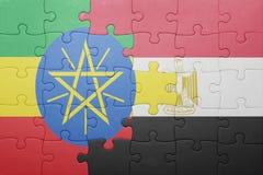 γρίφος με τη εθνική σημαία της Αιθιοπίας και της Αιγύπτου Στοκ φωτογραφία με δικαίωμα ελεύθερης χρήσης