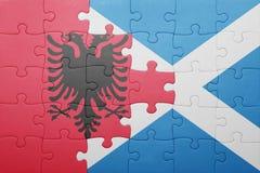 γρίφος με τη εθνική σημαία της Αλβανίας και της Σκωτίας Στοκ φωτογραφίες με δικαίωμα ελεύθερης χρήσης