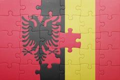 Γρίφος με τη εθνική σημαία της Αλβανίας και του Βελγίου Στοκ Φωτογραφίες