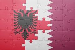 Γρίφος με τη εθνική σημαία της Αλβανίας και του Κατάρ Στοκ Φωτογραφίες