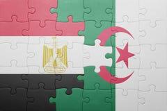 γρίφος με τη εθνική σημαία της Αλγερίας και της Αιγύπτου Στοκ Εικόνες
