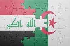 γρίφος με τη εθνική σημαία της Αλγερίας και του Ιράκ Στοκ φωτογραφίες με δικαίωμα ελεύθερης χρήσης