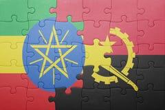 γρίφος με τη εθνική σημαία της Ανγκόλα και της Αιθιοπίας Στοκ φωτογραφίες με δικαίωμα ελεύθερης χρήσης