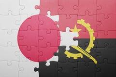 γρίφος με τη εθνική σημαία της Ανγκόλα και της Ιαπωνίας Στοκ φωτογραφίες με δικαίωμα ελεύθερης χρήσης