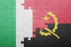 γρίφος με τη εθνική σημαία της Ανγκόλα και της Ιταλίας Στοκ Φωτογραφία