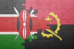 γρίφος με τη εθνική σημαία της Ανγκόλα και της Κένυας Στοκ Εικόνα