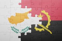 γρίφος με τη εθνική σημαία της Ανγκόλα και της Κύπρου Στοκ Εικόνες