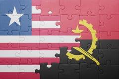 γρίφος με τη εθνική σημαία της Ανγκόλα και της Λιβερίας Στοκ εικόνα με δικαίωμα ελεύθερης χρήσης