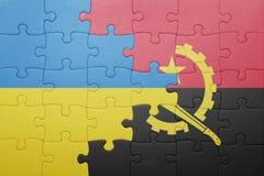 γρίφος με τη εθνική σημαία της Ανγκόλα και της Ουκρανίας Στοκ εικόνα με δικαίωμα ελεύθερης χρήσης