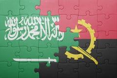 γρίφος με τη εθνική σημαία της Ανγκόλα και της Σαουδικής Αραβίας Στοκ Εικόνες