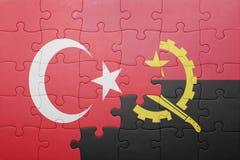 γρίφος με τη εθνική σημαία της Ανγκόλα και της Τουρκίας Στοκ φωτογραφίες με δικαίωμα ελεύθερης χρήσης