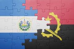 γρίφος με τη εθνική σημαία της Ανγκόλα και του Ελ Σαλβαδόρ Στοκ Εικόνες