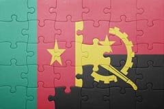 γρίφος με τη εθνική σημαία της Ανγκόλα και του Καμερούν Στοκ Εικόνες