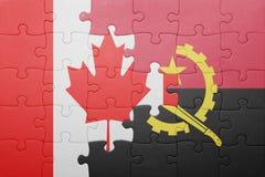γρίφος με τη εθνική σημαία της Ανγκόλα και του Καναδά Στοκ Εικόνες