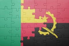 γρίφος με τη εθνική σημαία της Ανγκόλα και του Μπενίν Στοκ φωτογραφία με δικαίωμα ελεύθερης χρήσης