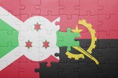 γρίφος με τη εθνική σημαία της Ανγκόλα και του Μπουρούντι Στοκ Εικόνες