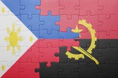 γρίφος με τη εθνική σημαία της Ανγκόλα και των Φιλιππινών Στοκ φωτογραφία με δικαίωμα ελεύθερης χρήσης