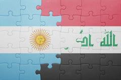 Γρίφος με τη εθνική σημαία της Αργεντινής και του Ιράκ Στοκ Εικόνα