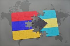 γρίφος με τη εθνική σημαία της Αρμενίας και των Μπαχαμών σε έναν παγκόσμιο χάρτη Στοκ Εικόνες