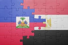 γρίφος με τη εθνική σημαία της Αϊτής και της Αιγύπτου Στοκ Φωτογραφίες