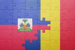 γρίφος με τη εθνική σημαία της Αϊτής και της Ρουμανίας Στοκ Εικόνα