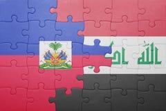 γρίφος με τη εθνική σημαία της Αϊτής και του Ιράκ Στοκ Φωτογραφία