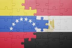 γρίφος με τη εθνική σημαία της Βενεζουέλας και της Αιγύπτου Στοκ Φωτογραφία