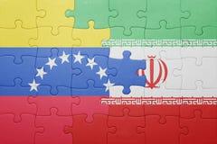 γρίφος με τη εθνική σημαία της Βενεζουέλας και του Ιράν Στοκ Φωτογραφίες