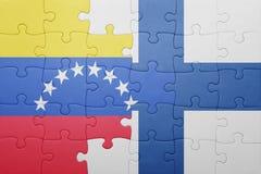 Γρίφος με τη εθνική σημαία της Βενεζουέλας και της Φινλανδίας Στοκ φωτογραφία με δικαίωμα ελεύθερης χρήσης