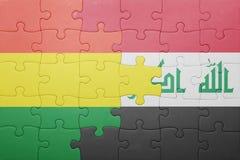 γρίφος με τη εθνική σημαία της Βολιβίας και του Ιράκ Στοκ Φωτογραφία