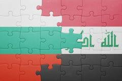 Γρίφος με τη εθνική σημαία της Βουλγαρίας και του Ιράκ Στοκ φωτογραφία με δικαίωμα ελεύθερης χρήσης