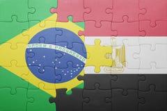 γρίφος με τη εθνική σημαία της Βραζιλίας και της Αιγύπτου Στοκ εικόνα με δικαίωμα ελεύθερης χρήσης