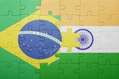 Γρίφος με τη εθνική σημαία της Βραζιλίας και της Ινδίας Στοκ φωτογραφία με δικαίωμα ελεύθερης χρήσης