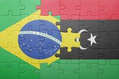 γρίφος με τη εθνική σημαία της Βραζιλίας και της Λιβύης Στοκ Φωτογραφίες