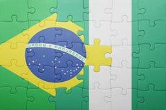 γρίφος με τη εθνική σημαία της Βραζιλίας και της Νιγηρίας Στοκ εικόνες με δικαίωμα ελεύθερης χρήσης