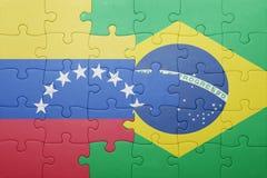 Γρίφος με τη εθνική σημαία της Βραζιλίας και της Βενεζουέλας Στοκ εικόνα με δικαίωμα ελεύθερης χρήσης