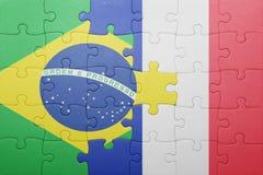 Γρίφος με τη εθνική σημαία της Βραζιλίας και της Γαλλίας Στοκ φωτογραφία με δικαίωμα ελεύθερης χρήσης