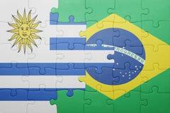 Γρίφος με τη εθνική σημαία της Βραζιλίας και της Ουρουγουάης Στοκ Φωτογραφία