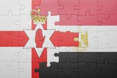 γρίφος με τη εθνική σημαία της Βόρειας Ιρλανδίας και της Αιγύπτου Στοκ φωτογραφία με δικαίωμα ελεύθερης χρήσης
